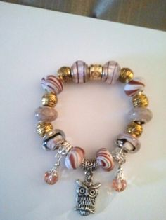 Pandora Style Bracelet  Different Color Brown Beads  Gold Spacers  Two (2) Dangling Brown Diamonds