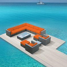Luxxella Outdoor Patio Venus 13 Pcs Couch Modern Orange Furniture All Weather Wicker Sofa Set Luxxella http://www.amazon.com/dp/B00R3IG5YC/ref=cm_sw_r_pi_dp_jFFJvb0NSZQP4
