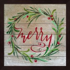 Merry By Molly Susan Strong Framed Art – Multi Frohe von Molly Susan Strong Gerahmte Kunst – Multi Christmas Wood, Christmas Signs, Christmas Projects, Holiday Crafts, Christmas Holidays, Christmas Wreaths, Christmas Decorations, Christmas Ornaments, Christmas Ideas