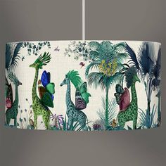 Tropical Giraffes Lampshade Blue Giraffes by FabFunky Home Decor, the perfect gift for Explore more unique gifts in our curated marketplace. Tropical Colors, Tropical Decor, Blue Lamp Shade, Australian Birds, Tropical Forest, Shades Of Turquoise, Giraffe Print, Giraffes, Lampshades