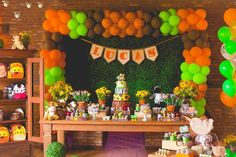 Jungle Safari birthday party backdrop and dessert table!  See more party planning ideas at CatchMyParty.com!