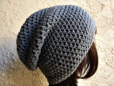 Dark Grey Gray Slouch  Crochet Slouchy Beanie  by YarnOverDesign