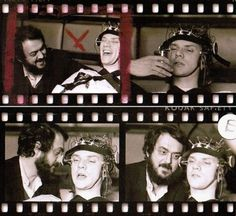 "Stanley Kubrick and Malcolm McDowell on the set of ""A Clockwork Orange,"" from ""25 Behind-the-Scenes Movie Photos That Will Mess With Your Mind."" Source: http://www.flavorwire.com/312437/25-behind-the-scenes-movie-photos-that-will-mess-with-your-mind?all=1"