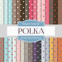 Polka Dots Printable Paper: Digital Polka by DigitalPaperStore