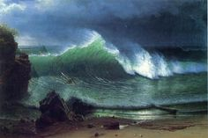Albert Bierstadt The Shore of the Turquoise Sea painting is shipped worldwide,including stretched canvas and framed art.This Albert Bierstadt The Shore of the Turquoise Sea painting is available at custom size. Albert Bierstadt, Seascape Paintings, Landscape Paintings, Beach Paintings, Oil Paintings, Landscapes, Pics Art, Art Pictures, Ocean Wave