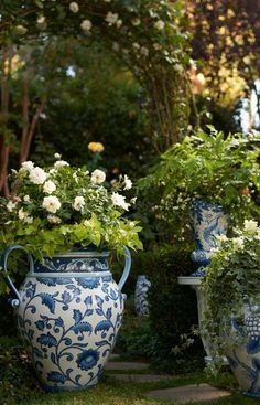 Our Blue and White Painted Tabletop Planter is an indulgence in ornate foliage…