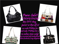 PURSE SALE extended ENDS 5/23/14 @ 11pm PST HURRY NOW CODE: PUR15 for 1 purse and PUR30 for 2