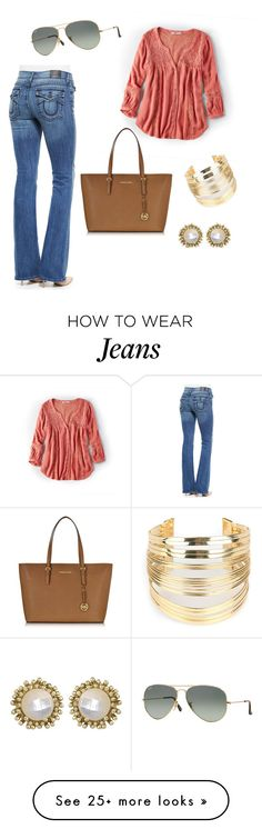 """""""Love these jeans"""" by sarahdavis07 on Polyvore featuring True Religion, American Eagle Outfitters, Ray-Ban, Kendra Scott, WithChic, Michael Kors, women's clothing, women's fashion, women and female"""