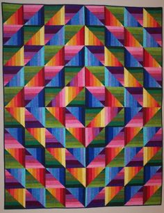 Dimples Rainbow Strata Quilt Kit at Gail Kessler's Ladyfingers Sewing Studio ladyfingerssewing.com