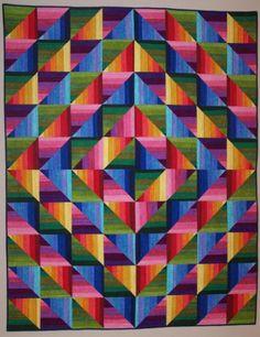 Dimples Rainbow Strata Quilt Kit at Gail Kessler's Ladyfingers Sewing Studio ladyfingerssewing.com