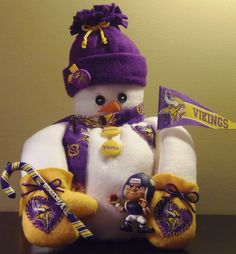Christmas gift ideas - Minnesota Vikings Fabric Snowman Decoration by MiniLuCreations