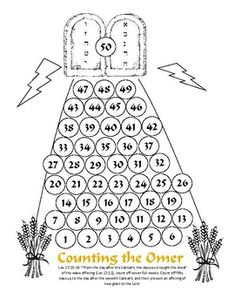Counting the Omer Calendar for kids - 1-50. We like to use fingerprints or stickers.