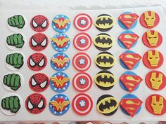 Superman, Wonder woman, Batman, Spiderman, Captain America, Hulk, Iron man  (Super hero) logo fondant cupcake toppers