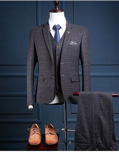 vaguestar Dark Grey Plaid Suit Men Slim Fit Custom Made Business Formal Suits for Wedding 2017 Latest Coat and Pants 3pcs Terno