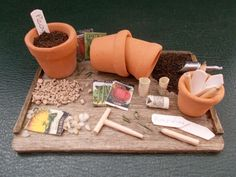 1/12th Scale...Dolls House...Handmade...Garden Potting Tray.