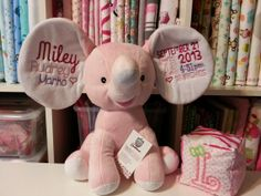 Personalized Baby Cubbies  ELEPHANT  Embroidered by HibouTChoux, $34.95 Cubbies, Personalized Baby, Applique, Elephant, Teddy Bear, Toys, Children, Animals, Cubicles