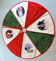 Quilted TREE SKIRT · Saint Bernard Red/White/Green 4 pics · Dawn Johnson - Amy Bolin's Far Out! Art