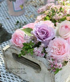 Pink and Lilac Roses in White Box