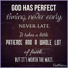 God has perfect timing: never early, never late. It takes a little patience and a whole lot of faith....but it's worth the wait.