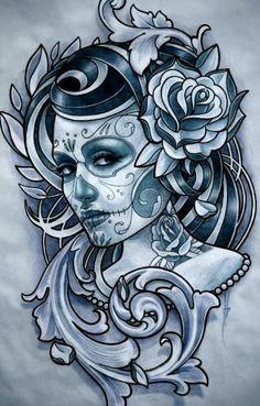 Catrinas, Dia De Los Muertos, Diseño Leon, Muestra Mma, Bocetos Tattoo, Diseños Tattoos, Arte Calaveras, Chicanas, Chileno
