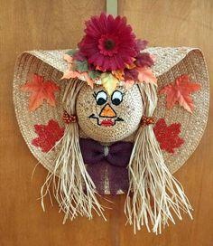 Fall Scarecrow Face Door Hanger Wreath, Autumn Home Decor, Straw Hat Scarecrow, Fall Wreath, Home De Scarecrow Face, Diy Scarecrow, Fall Scarecrows, Diy Fall Wreath, Fall Wreaths, Mesh Wreaths, Fall Halloween, Halloween Crafts, Vintage Halloween