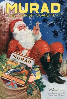 vintage everyday: 25 Vintage Tobacco Advertisements Featuring Santa Claus