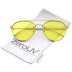 8b95f3c408f zeroUV - Modern Slim Temples Brow Bar Rimless Colored Flat Lens Aviator  Sunglasses 59mm (Silver   Yellow)