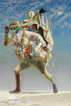 Tim Storrier wins Archibald Prize (2012) for his portrait of his pet dog and explains that ... 'It refers to a painting by Hieronymus Bosch called The wayfarer painted in 1510 where the figure is believed to be choosing a path or possibly the prodigal son returning. It also has other references, I believe, but they are rather clouded in biblical history and time. A carapace of burden is depicted in The histrionic wayfarer, clothed in the tools to sustain the intrigue of a metaphysical survey…