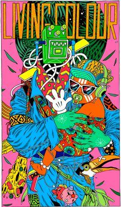 Bicicleta Sem Freio (Brazilian Illustration Studio), Living Color Poster, Life is Beautiful Festival.