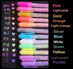 12 Fluorescent gel pen set neon color ink pen door StickersKingdom