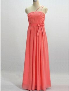 Simple coral prom dress
