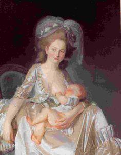 Louis-Rolland Trinquesse: Jeune femme allaitant son enfant (huile sur toile) 1777.