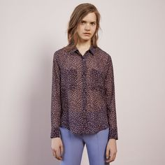 FWSS Animal Nitrate is a printed fine chiffon shirt with patch-pockets and button fasteners at the front, with long sleeves and two-button cuffs for an adjustable fit. Fall Winter Spring Summer, Chiffon Shirt, Red Dots, Fasteners, Winter Season, Cuffs, Pockets, Printed, Animal