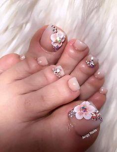 Cute Toenail Designs, Pedicure Designs, Pedicure Nail Art, Toe Nail Designs, Toe Nail Art, Acrylic Nail Designs, Pretty Toe Nails, Sexy Nails, Long Acrylic Nails