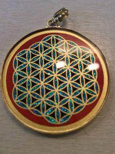 1 Mandala Anhänger aus Indien Kette Schmuck neu Bollywood Hippie Goa Glas 3cm n7