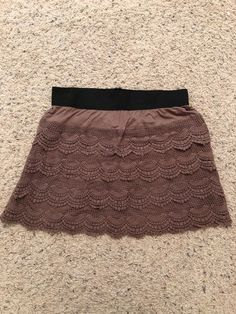 a8698665a3 umgee taupe lace layered skirt elastic waist large mini #fashion #clothing  #shoes #accessories #womensclothing #skirts (ebay link)