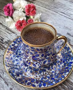The origin of the coffee is depicted as Abyssinia. Over time, coffee moved from there to Yemen and then spread throughout the Middle East. Coffee in the ot I Love Coffee, Coffee Set, Coffee Cafe, Black Coffee, Iced Coffee, Chocolate Cafe, Turkish Coffee Cups, Chocolate Caliente, Good Morning Coffee