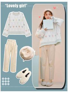 Korean Casual Outfits, Korean Outfit Street Styles, Cute Teen Outfits, Outfits For Teens, Casual Ootd, Korean Ootd, Kawaii Fashion, Cute Fashion, Look Fashion