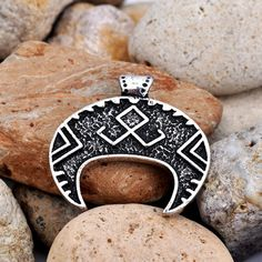 Slavic Lunula Pendant Viking Othala Rune by TridentsTreasure