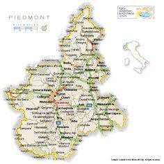 Piedmont, Italy, map
