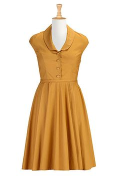 Shawl collar poplin dress
