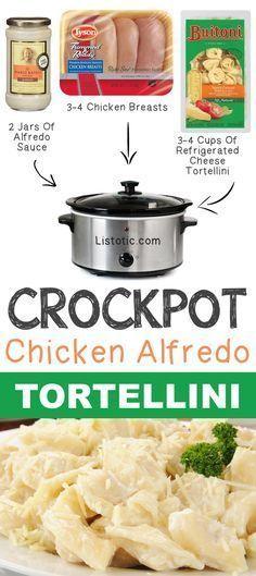 Crockpot Chicken Alfredo Tortellini 12 Mind-Blowing Ways To Cook Meat In… Crock Pot Food, Crockpot Dishes, Crock Pot Slow Cooker, Slow Cooker Recipes, Cooking Recipes, Quick Recipes, Meat Recipes, Crockpot Stuffing, Slow Cooking