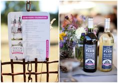 This wedding is full of great DIY projects, lots of rustic chic beauty, and purty flowers! The bride and groom met at this very farm (the family farm of the m Farm Wedding, Wedding Day, Wedding Things, Wedding Stuff, Custom Wine Labels, Wedding Branding, Table Names, Island Weddings, Rustic Chic