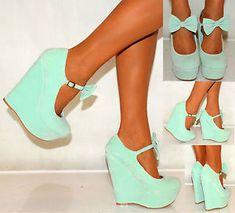 Ladies Womens Suede Bow Coral Pink Summer Platform Wedges High Heels Shoes 3 8 | eBay