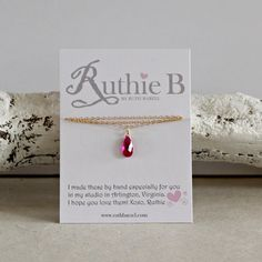 Girls Lab-Created Ruby Necklace, July Birthstone, on sterling silver or gold filled chain. 15% off with code PIN15