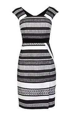 Black and white tweed pencil dress