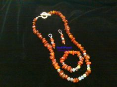Carnelian/Red Agate Chips & Crystal Necklace set