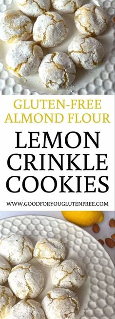 Gluten-Free Almond Flour Lemon Crinkle Cookies Recipe - Good For You Gluten Free --- TO DECARB: Use erythritol/stevia sweetener. recipe gluten free A Gluten-Free Lemon Crinkle Cookies Recipe You'll Love Gluten Free Deserts, Gluten Free Cookie Recipes, Almond Flour Recipes, Gluten Free Sweets, Foods With Gluten, Coconut Flour, Gluten Free Biscuits, Lemon Recipes Gluten Free, Cookies With Almond Flour