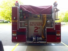 """""""If you can read this you must be 2nd Due""""  Back of Engine 2,  East Hampton, New York  Photo courtesy of Brian Stanis Firefighter Shirts, Firefighter Wedding, New York Photos, East Hampton, Firefighting, Ems, Engine, Smoke, Fireman Wedding"""
