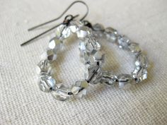 Czech glass silver clear Crystals drop earrings | Beaded crystals faceted glass silver Boho chic Bohemian jewelry Gifts for her trendy style - pinned by pin4etsy.com